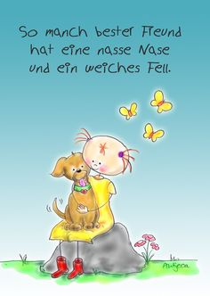 "Postkarte "" Hund bester Freund"" Antjeca von grossARTiges auf DaWanda.com"