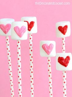 candy heart marshmallow pops for Valentine's Day