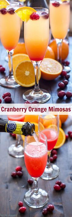 Cranberry Orange Mimosas Add a little cranberry simple syrup to these traditional mimosas for a festive holiday drink, perfect for brunch! Christmas Drinks, Holiday Drinks, Party Drinks, Cocktail Drinks, Fun Drinks, Holiday Recipes, Beverages, Brunch Drinks, Christmas Brunch