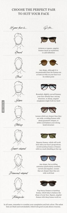 Funny pictures about The perfect pair to suit your face. Oh, and cool pics about The perfect pair to suit your face. Also, The perfect pair to suit your face. Sunglasses For Your Face Shape, Glasses Face Shape, How To Choose Sunglasses, Types Of Sunglasses, Style Masculin, Mr Porter, Mode Inspiration, Man Style, Girl Style