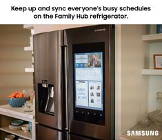 Bring the family together with the Family Hub refrigerator. Share calendars, photos, doodles and more between your Family Hub and your family's smartphones to access all your information anytime or anywhere. Create an avatar for each member of your family so the kids can check off their chores before the guests arrive, all while setting a reminder for yourself to pre-heat the oven for the turkey.