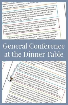 Discuss General Conference at the Dinner Table- love this simple hand out to really get to know the words of prophets. FREE download!