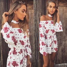 Polka Rose Playsuit | #saboskirt Pops of colour in the cutest print. New arrivals are available now