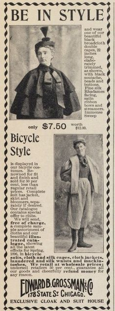 Black broadcloth cape and bicycling outfit in 'The Ladies Home Journal', March 1896.
