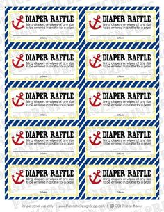 NAUTICAL Diaper Raffle Printable Ticket -any guest who brings diapers or wipes is entered for a prize!