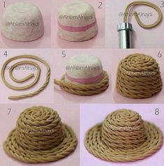 Polymer clay hat tutorial (part Polymer Clay Miniatures, Fimo Clay, Polymer Clay Projects, Fondant Tutorial, Hat Tutorial, Miniature Crafts, Fondant Figures, Pasta Flexible, Clay Flowers