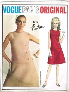 Vogue 1715 60s PATOU Vogue Paris Original DRESS Vintage Sewing Pattern with Label
