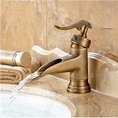 Bronze Wasserfall Centereingestellt Bad Waschtischarmatur Antik