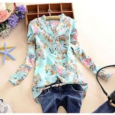 Chiffon-V-neck-Women-T-Shirt-Flower-Printed-long-Sleeve-Blouse-Casual-Tops