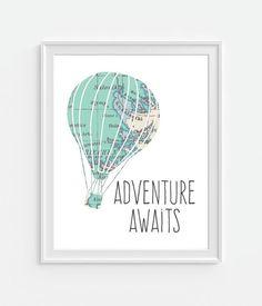 Vintage Map Hot Air Balloon Print 'Adventure Awaits' 5×7 8X10 11×14 Inspirational Quote Nursery Baby Print Wall Art, Home Decor Wall Art