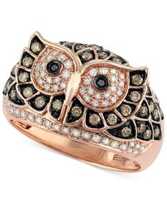 Confetti by EFFY White and Brown Diamond Owl Ring (3/4 ct. t.w.) in 14k Rose Gold - Rings - Jewelry & Watches - Macy's