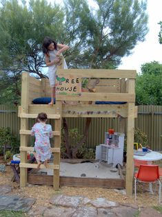 Recreate this with an old bunk bed frame turned into a climbing structure/shade/play house, wish i would of seen this when trin was little, add a little to the top and you could amke a real tree house..