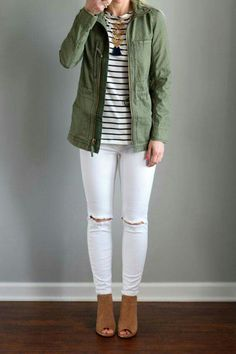 Trunk Club for Women: Spring 2016 II Madewell 'Fleet' Jacke. - Trunk Club for Women: Spring 2016 II Madewell 'Fleet' Jacket and Amour Vert 'Francoise' Nautical Long Sleeve Top Source by tikvadohne - Mode Outfits, Jean Outfits, Casual Outfits, Fashion Outfits, Preppy Casual, Jeans Fashion, Casual Shirts, Womens Fashion, Fall Winter Outfits