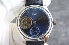 IWC Portuguese Flying Tourbillon SS TF Best Edition Blue Dial on Black Leather Strap