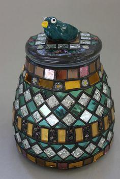 Mosaic, Decorative Jar with Bird on Top Item 1156 by animal.artist, via Flickr