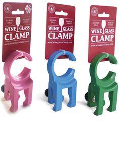 Wine glass camp chair clamp