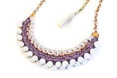 Statement Ketten - Perlen Statement Kette Pflaume Mauve Weiß - ein Designerstück von gudbling bei DaWanda