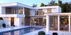 Modern and luxurious villa view from the outside #prolux #hst #oknoplast #windows #design #decor #home #hemoedecor #view #villa #outside