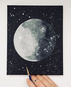 Abigail Moya @abbazabacreates moon acrylic painting canvas Moon Painting, Galaxy Painting, Painting & Drawing, Moon Drawing, Star Painting, Painting Lessons, Gouache Painting, Painting Tips, Painting Techniques