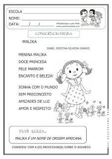 Alfabetizar com AMOR: MALIKA - CONSCIÊNCIA NEGRA - EM DOIS TIPOS DE LETRAS / 1º ANO