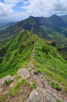 Pu'u Kalena Trail dike section.  This trail is officially closed now.  Hiking, Waianae, Oahu, Hawaii by XJCreations, via Flickr