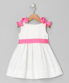 Take a look at this White & Hot Pink A-Line Dress - Infant, Toddler & Girls by Emily Lacey on #zulily today!