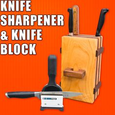 How to Make an Easy Knife Block & M-Power Knife Sharpener Review. #woodworking