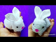 Plastic Bottle Reuse Ideas - Woolen art and craft - Best reuse ideas - Best out of waste Rabbit Crafts, Bunny Crafts, Towel Crafts, Yarn Crafts, Hobbies And Crafts, Crafts For Kids, Arts And Crafts, Diy Plush Toys, Creative Gift Baskets