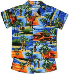 100% Cotton, RJC Label, Made In Hawaii.  Kuka ilimoku Tiki Boy's polynesian Cabana set created in Royal Blue, Black and Turquoise. An Hawaiian shirt with a pair of matching elastic waist pull-on shorts make up the set. MauiShirts search box stock number 1261- 962