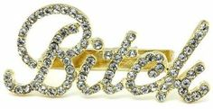 "X-large 3.25"" Wide Bling Clear Ice Austrian Crystal Embellished Gold Cassie Bitch Knuckle Ring - Three Finger Band Rings by Glamour Girl Gifts. $25.99"