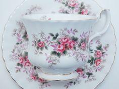 "Royal Albert Vintage Fine Bone China Tea Cup and Saucer ""Lavender Rose"" Pink Flowers Gold Trim"