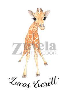 Personalised nursery art, nursery prints, Giraffe prints, personalised Baby giraffe prints