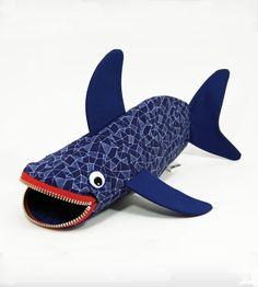 Shark Bite Pencil Case - Geometric by MinneBITES // fun design!
