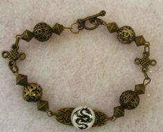 Burnished Gold Celtic Dragon Charm Link Bracelet Jewelry Handmade NEW Fashion