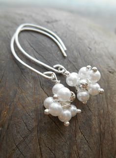 Sterling Silver Pearl Cluster Drop Earring by SFDesigns2015