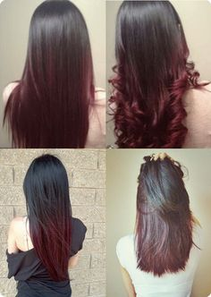 Brown to Red Ombre Hair. Cool red again. Can be a fun way for winter coloring to participate in trends and still look beautiful, with a wardrobe that works every day.