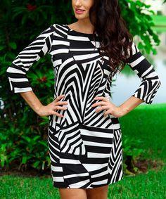 Black & White Abstract Stripe Three-Quarter Sleeve Boatneck Dress
