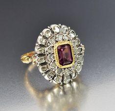 Antique Georgian Amethyst Diamond Halo Engagement Ring - ON HOLD  #Ring #Diamond #Gold #Engagement #Italian #Georgian #Silver #Antique #Sterling #Halo