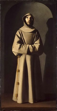 Saint Francis by Francisco de Zurbaran, Mystery of History Volume Lesson 64 Francis Of Assisi, St Francis, Catholic Art, Catholic Saints, Roman Catholic, Caravaggio, Religious Images, Religious Art, Mystery Of History