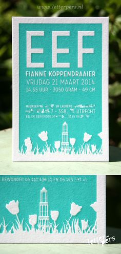 letterpers_letterpress_geboortekaartje_Eef_Dom_Utrecht_tulpen_relief