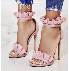 $50 - $150 Pastel Dusty Rose Pink Ruffled Detail Strap High Heeled Shoes Summer Spring Shoe Trends Tumblr