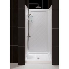 DreamLine SlimLine 32 in. x 32 in. Single Threshold Shower Base in White Center Drain Base with Back Walls, White; Shower Inserts, Shower Panels, Small Shower Stalls, Small Tiled Shower Stall, Acrylic Shower Base, Dreamline Shower, Custom Shower Doors, Small Shower Remodel, Shower Installation