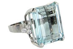 30ct Aquamarine & Diamond Cocktail Ring