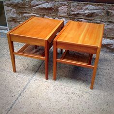 #Pair Of #Vintage #Maple #SideTables With #Caned Shelves. Info @ link below.