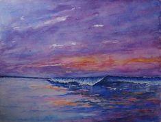 Golfslag  origineel aquarel / schilderij / Branding Watercolor Wave, Sunset, Painting, Etsy, Beautiful, Branding, Brand Management, Painting Art, Paintings