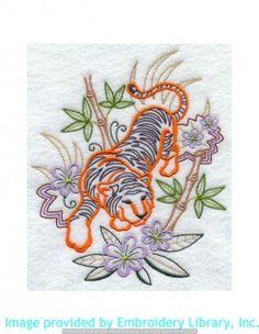 Stickmotiv Stickbild Aufnäher Stickerei Emblem Asien Tiger Tiger / Stickerei Tiger in Bamboo (G2199)