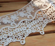 White Rose Floral Lace Trim Embroidery Hollow Out Tulle Lace Trim 4.33 Inches Wide 1 Yard L0200