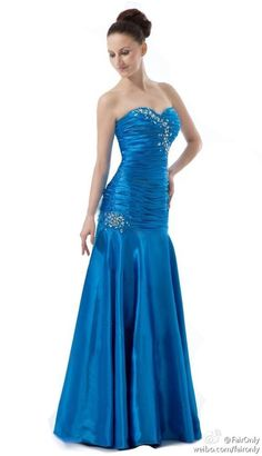Faironly Blue Satin Beads Sequins Club Prom Bridesmaid Gown Women Evening Dress