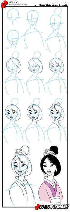 Como dibujar a Mulan http://www.comodibujar.es/aprender-dibujar/disney/princesas/dibujar-mulan/