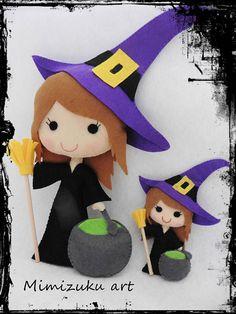 Felt witch halloween witch felt doll halloween doll trick